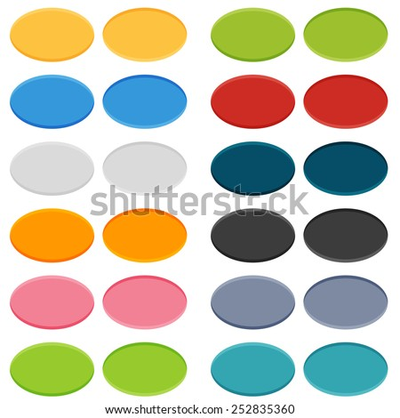 Big set of 16 oval buttons in 2 positions - normal and on click (pushed) - stock vector