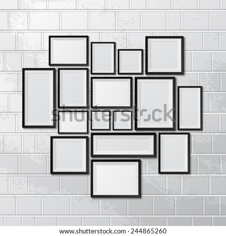 Big set of picture frames isolated on white background. Vector illustration