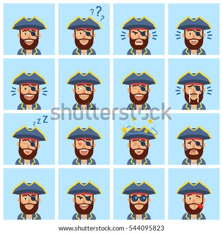 Big set of pirate captain emoticons. Pirate avatars showing different facial expressions. Happy, sad, laugh, cry, surprised, serious, in love and other emotions. Simple style vector illustration