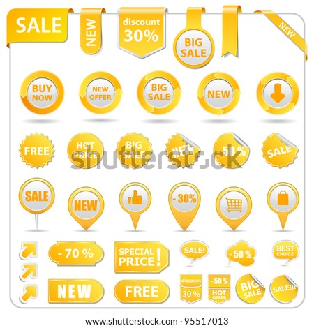 Big set of price tags, ribbons, arrows and stickers, vector illustration - stock vector