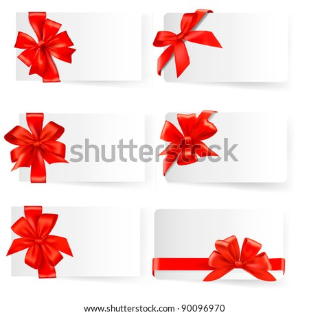 Big set of red gift bows with ribbons. Vector.