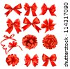 Big set of red gift bows with ribbons. Vector illustration. - stock photo