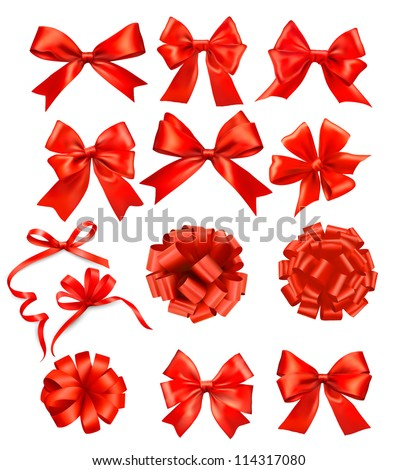 Big set of red gift bows with ribbons. Vector illustration. - stock vector