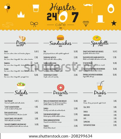 Big set of restaurant and cafe menu design, template design in vector. Cooking frames, labels and graphic elements in hipster style design. Vintage-styled illustration. Fast Food. - stock vector