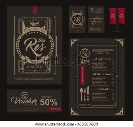 Big set of restaurant and cafe menu design,voucher,business card,flag table,Restaurant cafe menu, template design, Food flyer - stock vector