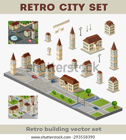 Big set of retro buildings and structures of urban infrastructure. Landscapes and scenery retro style city. - stock vector