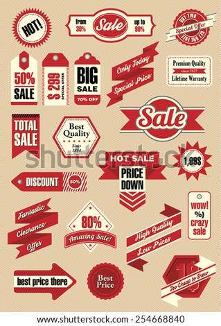 Big set of retro tags, ribbons and labels, vector illustration. Everything for sale! - stock vector