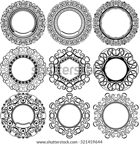 Big set of round black frame with ornamental border - stock vector
