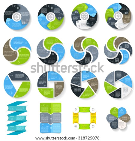 Big set of round connected infographic diagrams. Circular connected charts with 3, 4, 5, 6 options. Paper progress steps for tutorial, manual. Business concept sequence banner. EPS10 workflow layout.