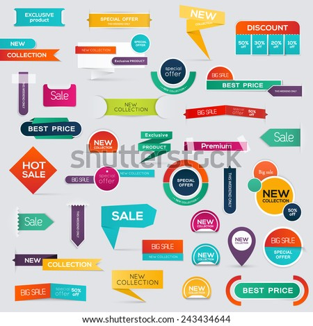 Big set of Sale Discount Styled origami Banners. Vector illustration.  - stock vector