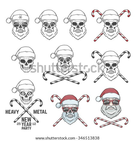 Big set of Santa Claus skulls with candie cones and glasses. New year logo insignia design elements. Vintage Heavy metal party Christmas badge collection. Rock and roll noel t-shirt illustration - stock vector