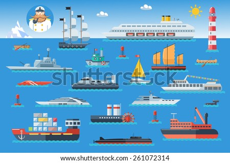 Big set of sea ships. Water carriage and maritime transport in flat design style. Side view vector illustration. - stock vector