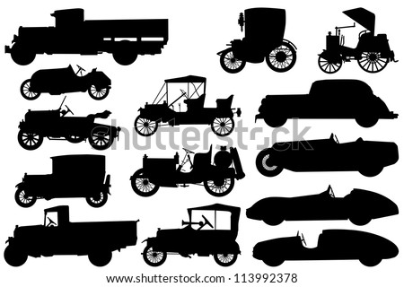 Big set of silhouettes of classical cars - stock vector