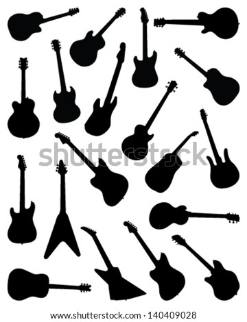 Big set of silhouettes of guitar-vector - stock vector