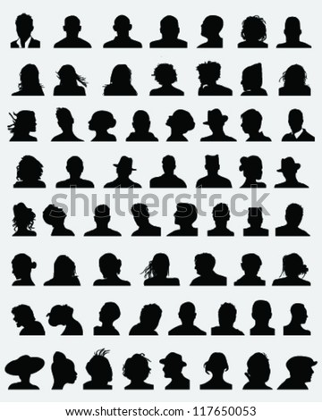 Big set of silhouettes of heads,vector