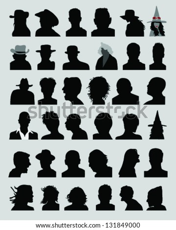 Big set of silhouettes of heads, vector - stock vector
