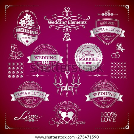 Big set of silver classic wedding vintage badges and decorative elements in retro design on the vine background - stock vector