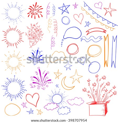 Big set of 47 sketched retro elements. VECTOR colored illustration isolated on white.  - stock vector