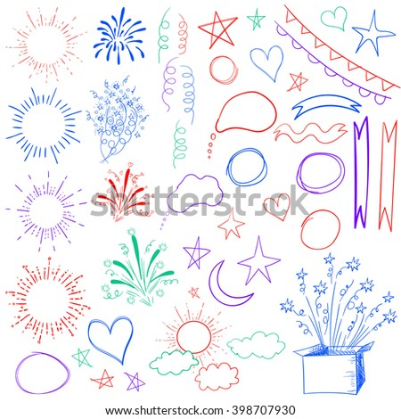 Big set of 47 sketched retro elements. VECTOR colorful illustration isolated on white.  - stock vector