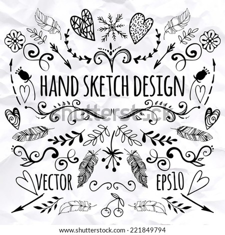 big set of sketches and line doodles - hand drawn design elements - isolated flowers, leaves, hearts, feathers, arrows - for decoration prints, labels, patterns - vector illustration - stock vector