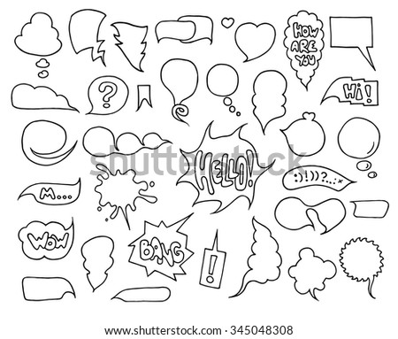 Big set of speech and think bubbles. Doodle cartoon comic bubbles isolated on white background.Hand-drawn vector organized in groups for easy editing. - stock vector