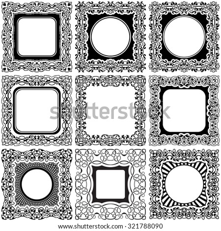 Big set of square black frame with ornamental border - stock vector