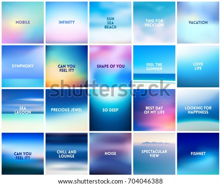 BIG set of 20 square blurred nature blue backgrounds number 2. With various quotes. Sea ocean sky blurred blue background
