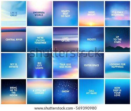 BIG set of 20 square blurred nature dark blue backgrounds. With various quotes. Sunset and sunrise sea ocean sky blurred blue background