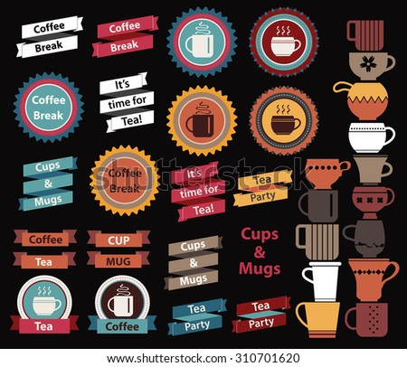 Big set of Tea and Coffee design elements. Tea time, Coffee break, taglines on origami ribbons. Tea set, Coffee set. Big collection for you design. - stock vector