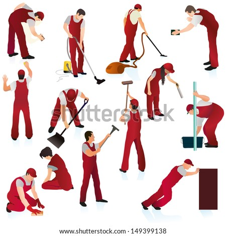 Big set of thirteen professional cleaners in the red uniform - stock vector