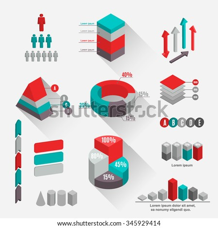 Big set of three-dimensional isometric elements. Templates for charts, graphs, diagrams and presentations. Business concept different parts and processes. Abstract vector illustration - stock vector