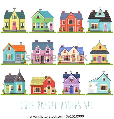 Big set twelve vector illustration cute stock vector for Big cute houses