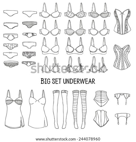 Big set of underwear. Lingerie of the hand-drawn in the sketch, doodle style. Vector. - stock vector