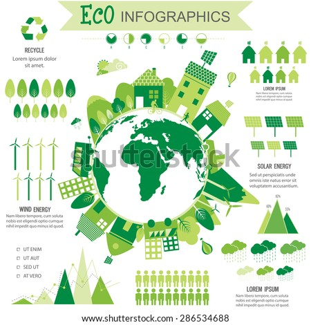 Big set of various ecological infographic elements with statistical graphs, charts, solar panel and view of a city on globe. - stock vector