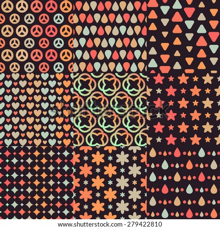 Big set of 9 various simple combining dark brown retro seamless patterns with orange, blue and beige geometric elements: heart, peace sign, drop, star, flower, rhomb, triangle - stock vector