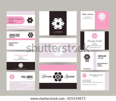 Big set vector business cards layout stock vector 425554873 big set of vector business cards layout templates front and back side brand identity colourmoves