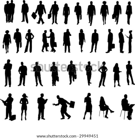 big set of vector business people