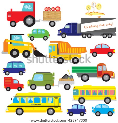 Big set of vector cars, dumper, truck, bus, tractor.