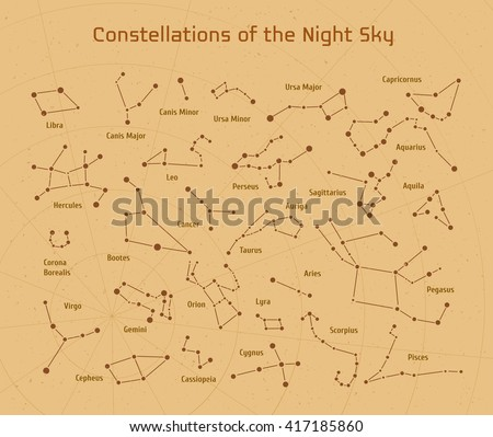 Big set of vector 28 constellations. Collection of zodiac constellations of the night sky.  - stock vector