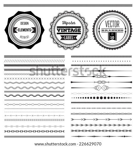 Big set of vector dividers for web design or vector brushes, eps 10 - stock vector
