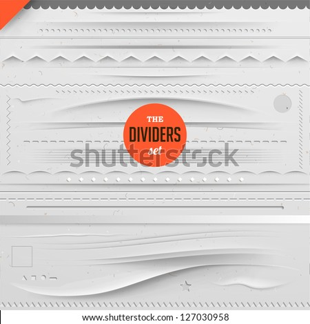 Big set of vector dividers for web design with seamless paper background, eps 10 - stock vector