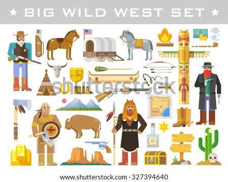 Big set of vector elements on the theme of wild West. Cowboys. Native Americans. Life in the wild West. The development of America. Modern flat style. - stock vector