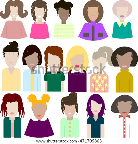 Big set of vector female portraits vector illustration of women
