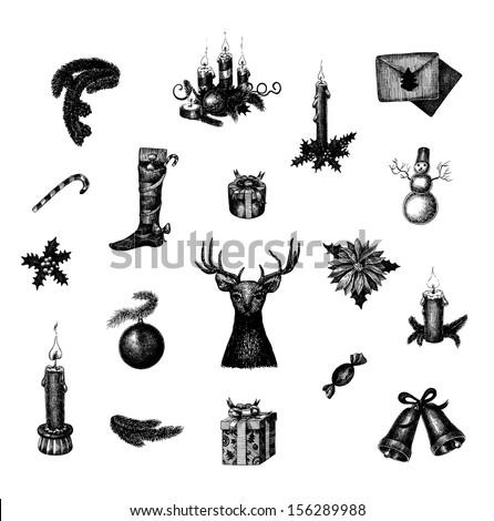 Big set of vector hand drawn Christmas and New Year symbols - stock vector
