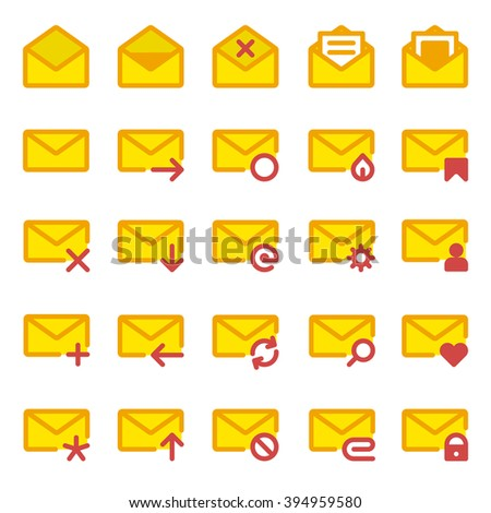 Big set of vector icons e-mail. Yellow icons mail letter, e-mail in a flat style for use in your design layouts and web applications. - stock vector