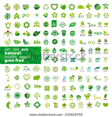 big set of vector icons ecology, health, natural  - stock vector