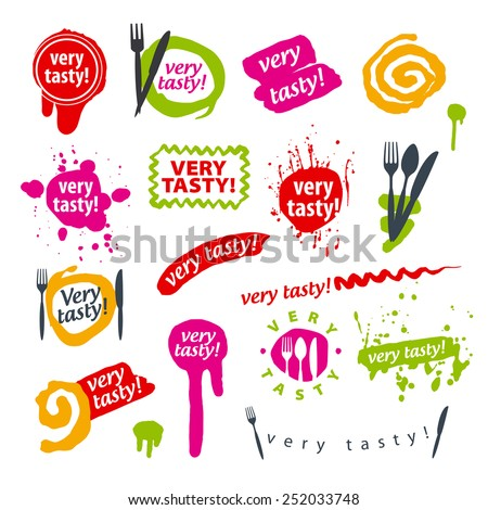 big set of vector icons for food - stock vector