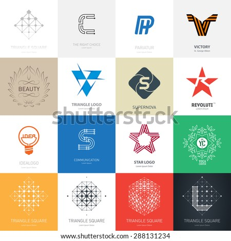 Big set of vector logos with stars, letters, lamp, maze and over design elements. - stock vector
