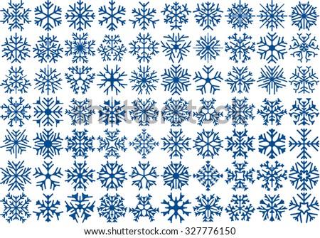 Big set of 70 vector snowflakes. Winter design element. - stock vector