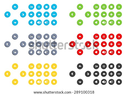 Big set of video control buttons in flat style in 6 different colors - stock vector